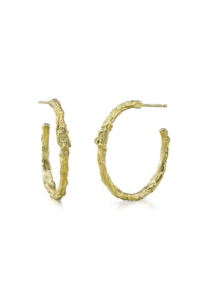 Aaron Henry - Yellow Gold Large Branch Hoop Earrings