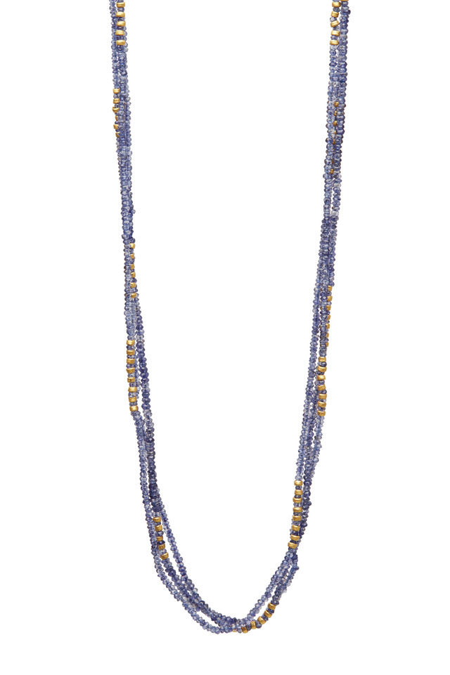 Triple Strand Tanzanite Tribe Wrap Necklace