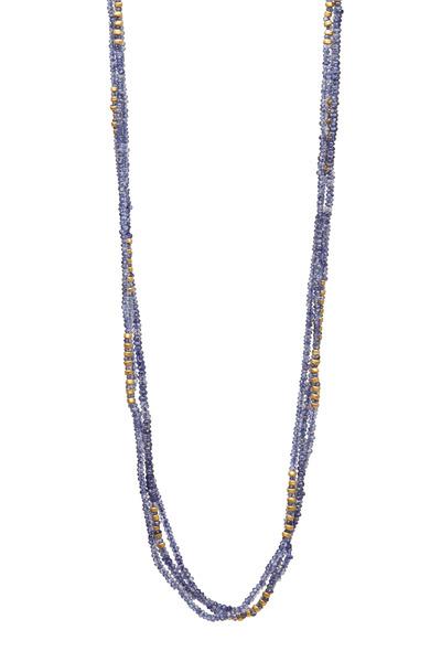 Yossi Harari - Triple Strand Tanzanite Tribe Wrap Necklace