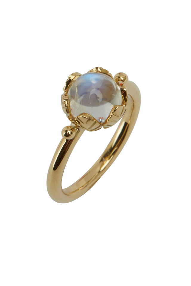 Yellow Gold Moonstone Arcadia Stack Ring