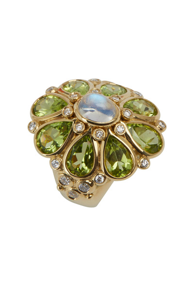 Temple St. Clair - Yellow Gold Peridot Moonstone Diamond Blossom Ring