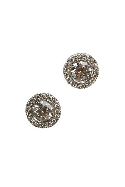 Kwiat - Silhouette White Gold Round Diamond Stud Earrings