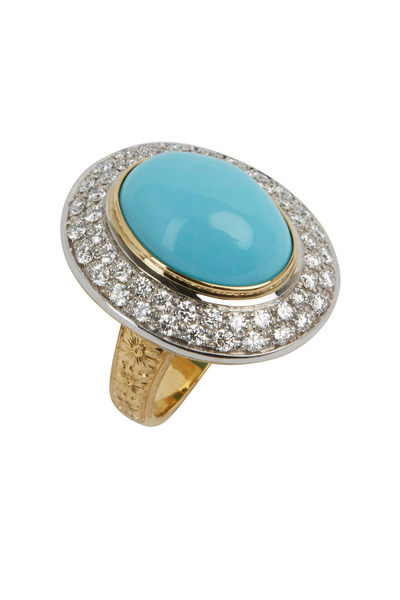 Kathleen Dughi - 18K Gold & Turquoise & Diamond Cocktail Ring