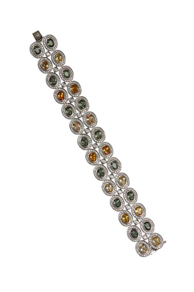 White Gold Sapphire & Diamond Bracelet
