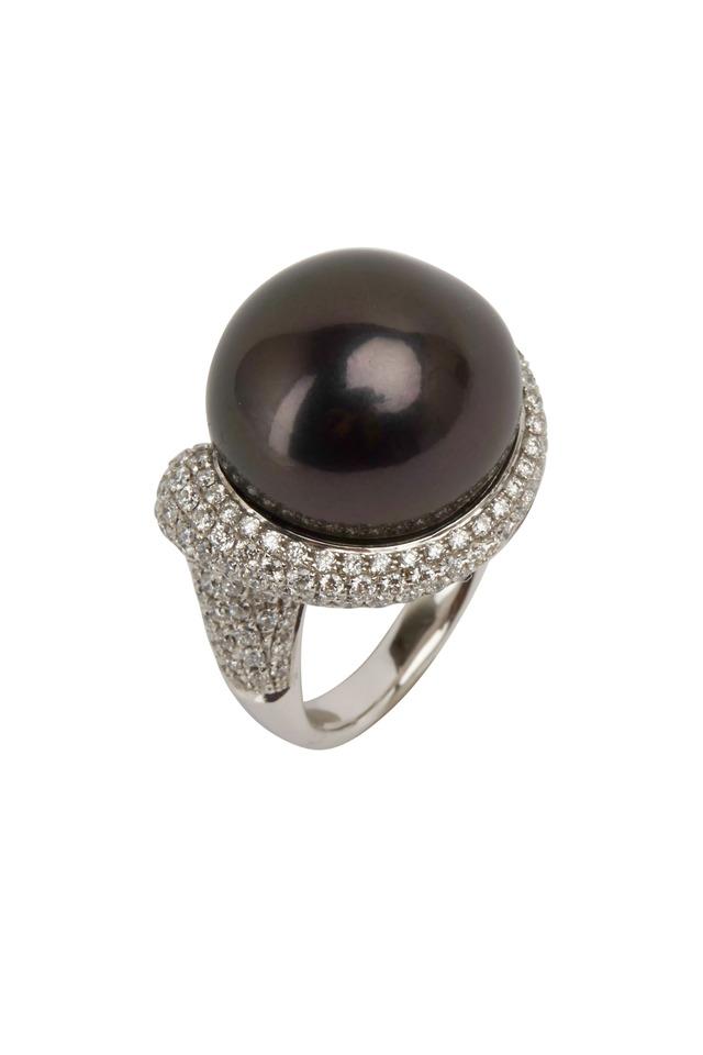 White Gold Black Baroque Pearl Diamond Ring