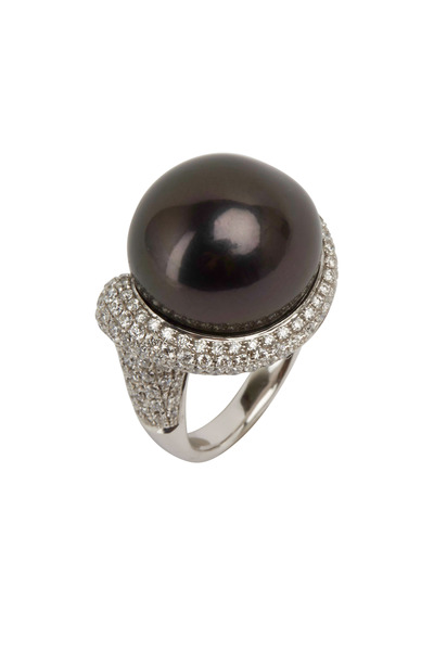 Kathleen Dughi - White Gold Black Baroque Pearl Diamond Ring