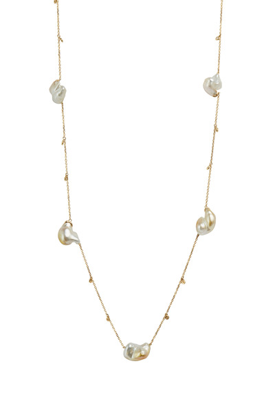 Kathleen Dughi - Yellow Gold Keshi Pearl Diamond Necklace