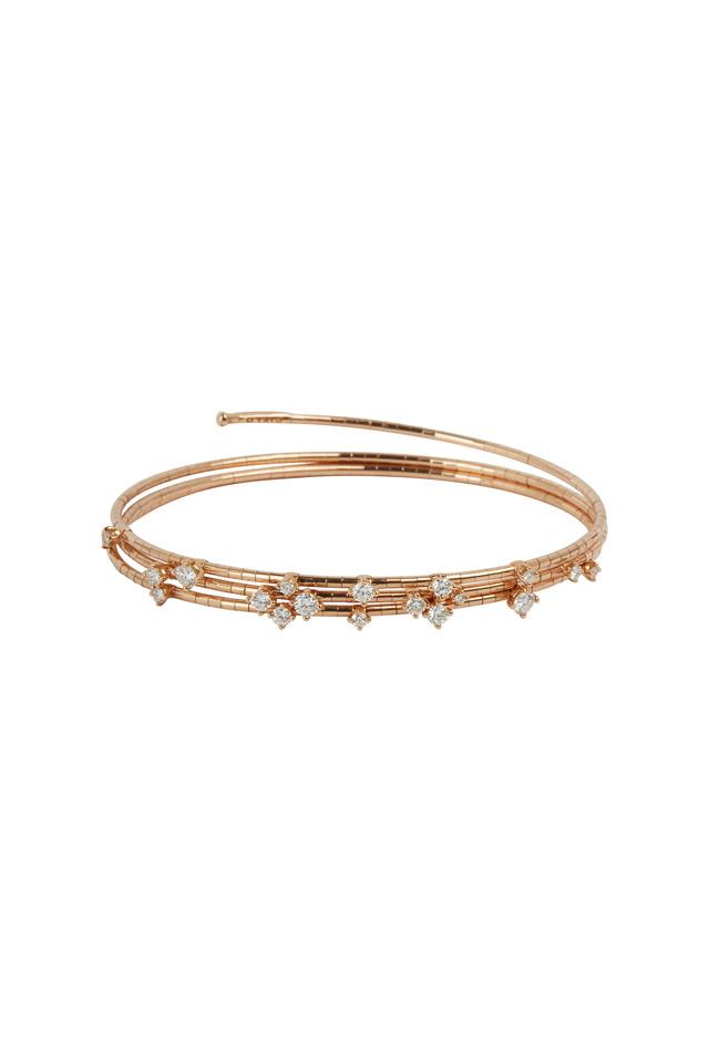 18K Rose Gold Diamond 3 Coil Bracelet