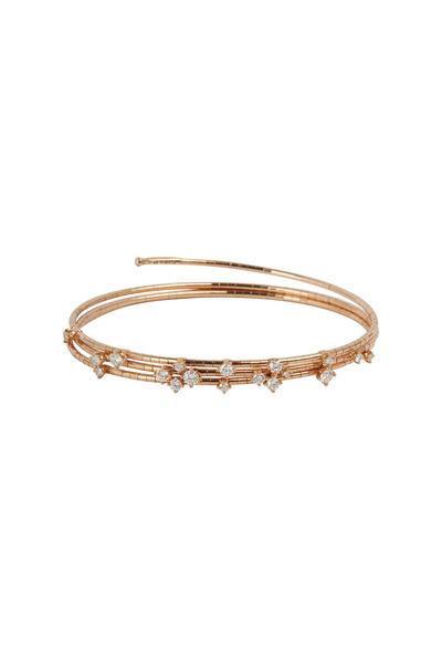 Mattia Cielo - 18K Rose Gold Diamond 3 Coil Bracelet