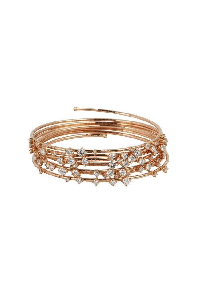 18K Rose Gold Diamond 7 Coil Bracelet