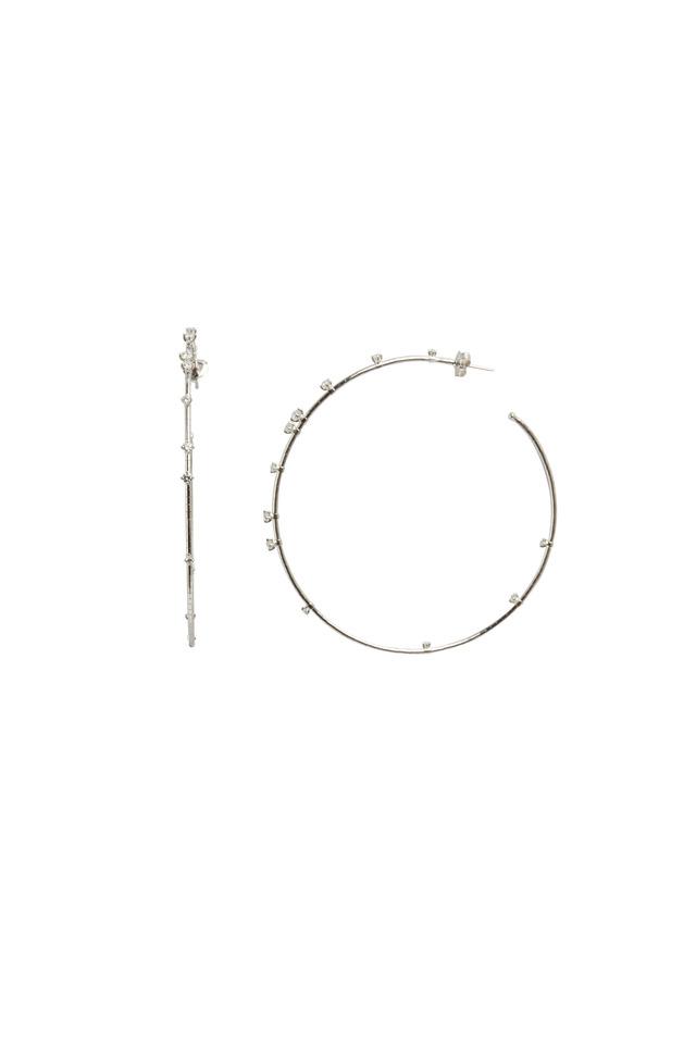 White Diamond Coil Hoops