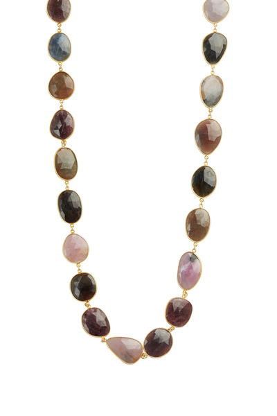 Loriann - Yellow Gold Mixed Sapphire Necklace