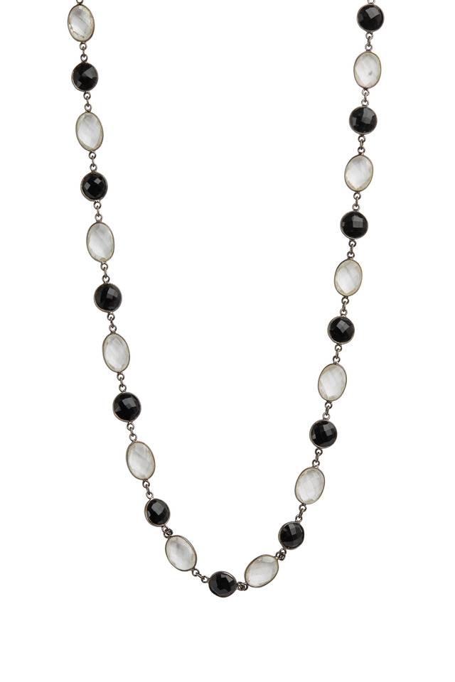 Black Spinel & Clear Quartz Necklace