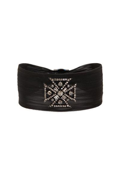 Loren Jewels - Black Sterling Silver Diamond Cross Cuff Bracelet