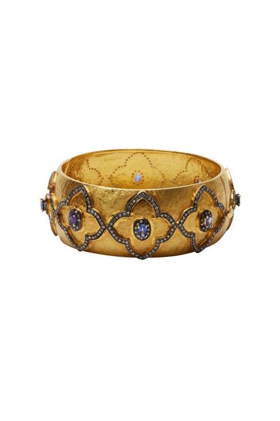Loren Jewels - Gold & Silver Sapphire Diamond Bangle