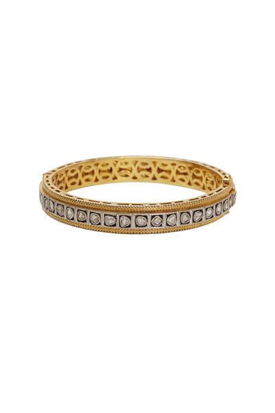 Loren Jewels - Yellow Gold & Silver Diamond Bangle
