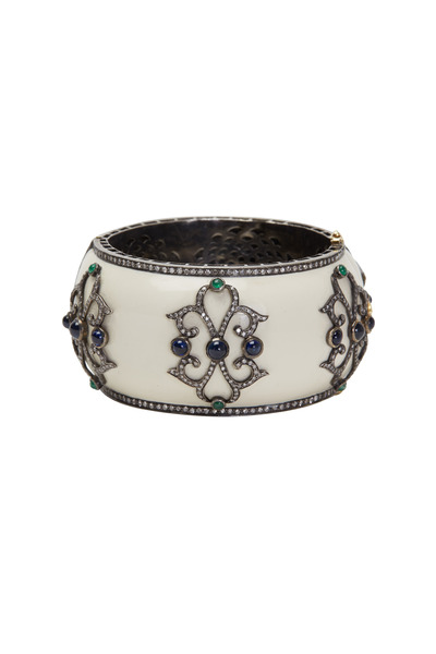 Loren Jewels - Gold & Silver Diamond Sapphire & Emerald Bangle