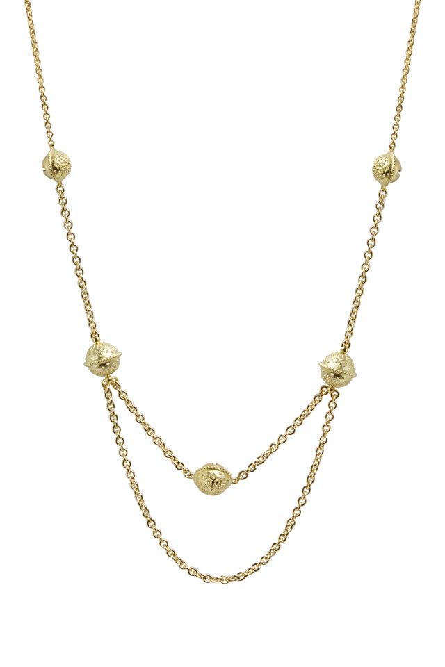 Meditation Bell Yellow Gold Choker Necklace