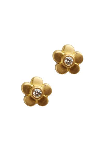 Caroline Ellen - Gold Tiny Petal Flower Diamond Stud Earrings
