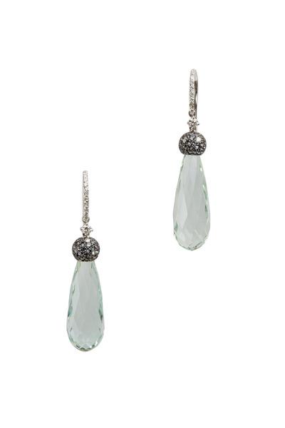 Eclat - Diamond Green Beryl & Garnet Drop Earrings