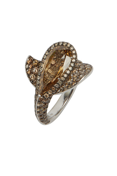 Eclat - White Gold Brown & Orange Diamond Ring