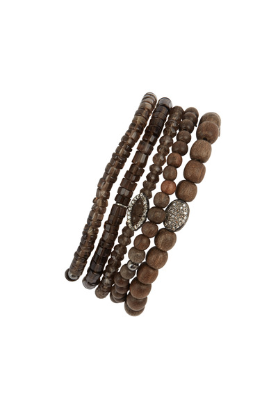 Tulah Jem - Silver & Wood Smokey Quartz Bracelet