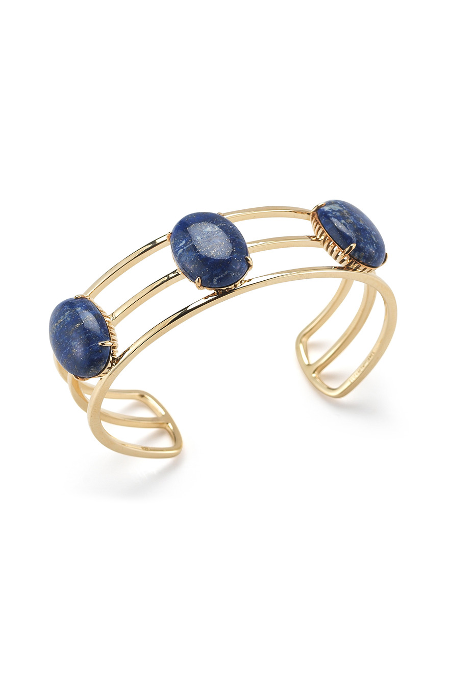 Gold Plated Berlin Oval Cabochon Cuff With Blue Lapis