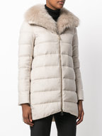 Herno - Oatmeal Wool Fox Fur Collar Puffer Coat