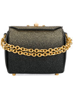 Alexander McQueen - Black & Gold Glitter Box Chain Shoulder Bag