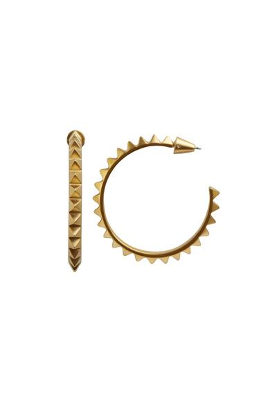 Eddie Borgo - Yellow Gold Pyramid Hoop Earrings