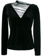 Emporio Armani - Black Velvet Ruched Sheer Inset Top