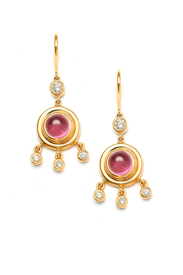 Rubellite Cabochon Earrings With Diamonds
