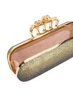 Alexander McQueen - Black & Gold Glitter Ombré Knuckle Clutch