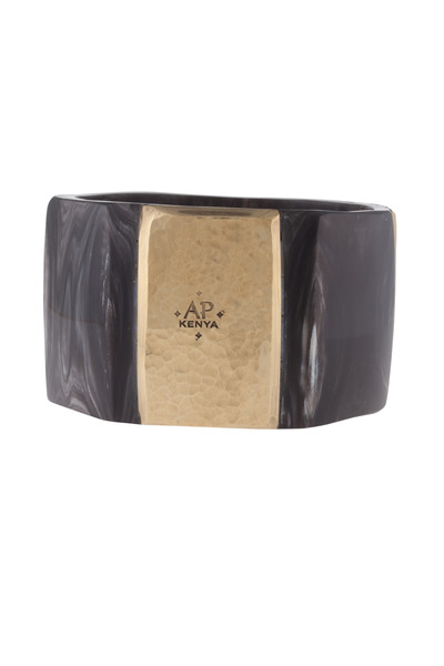 Ashley Pittman - Shani Nene Dark Horn Bronze Plate Bangle