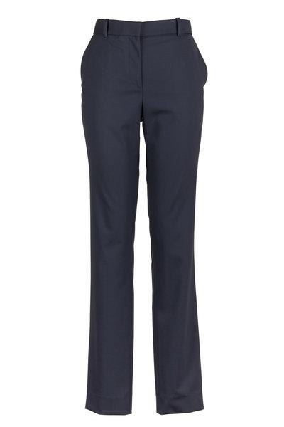 The Row - Franklin Navy Blue Wool Slim Pants