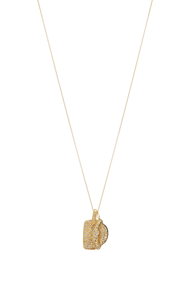 Yellow Gold Dog Tag Chain Necklace