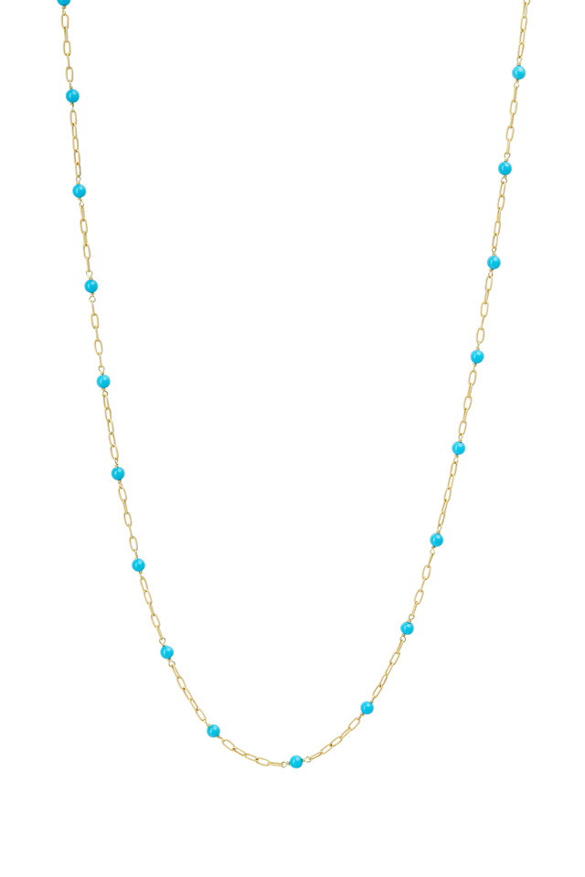 Yellow Gold Turquoise Bead Twisted Link Necklace