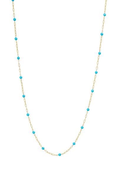 Paul Morelli - Yellow Gold Turquoise Bead Twisted Link Necklace