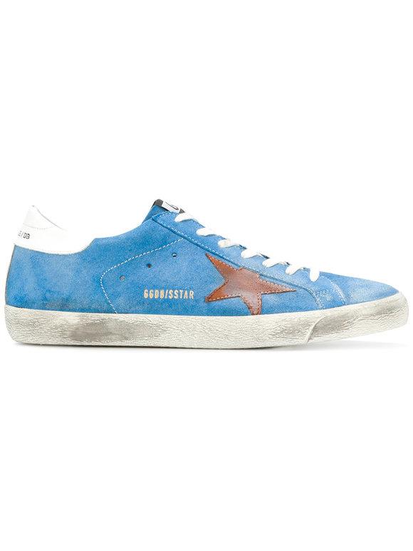 Golden Goose Men's Superstar Light Blue Suede Low Top Sneaker