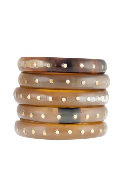Ashley Pittman - Bronze And Brown Horn Bangles, Set Of Five