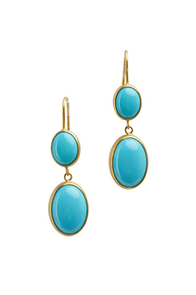 Caroline Ellen - Yellow Gold Turquoise Drop Earrings