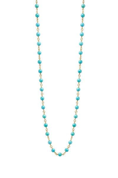 Caroline Ellen - Yellow Gold Turquoise Bead Wrap Necklace