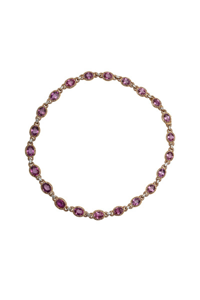 Eclat - Gold Pink Sapphire & White Diamond Necklace