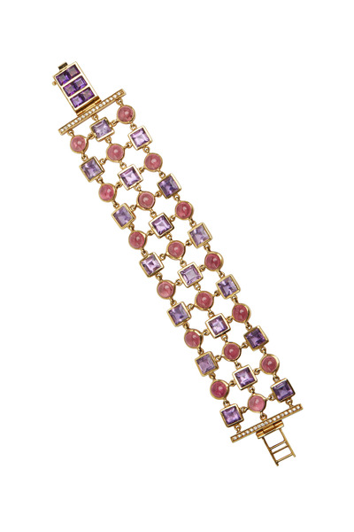 Eclat - Yellow Gold Amethyst & Tourmaline Diamond Bracelet