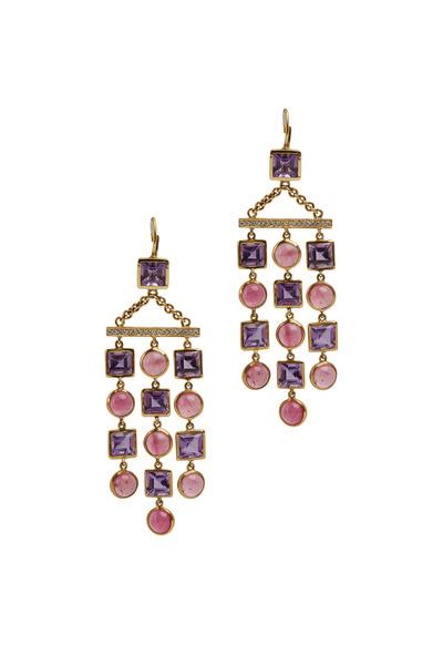 Eclat - Yellow Gold Amethyst & Tourmaline Diamond Earrings