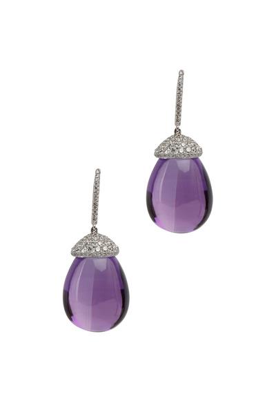 Eclat - Platinum Amethyst & Diamond Drop Earrings