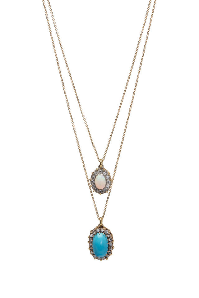 Yellow Gold Opal Turquoise Diamond Necklace