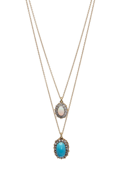 Renee Lewis - Yellow Gold Opal Turquoise Diamond Necklace