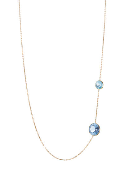 Renee Lewis - Yellow Gold Natural Blue Zircon Necklace