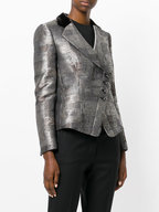 Emporio Armani - Taupe Abstract Print Asymmetric Button Jacket